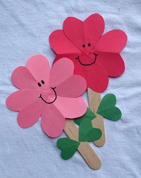 reused old popsicle sticks with paper flowers crafts ideas