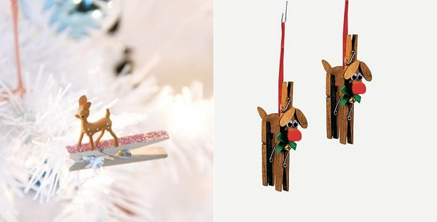 unused clothespins transformed christmas reideer tree decoration