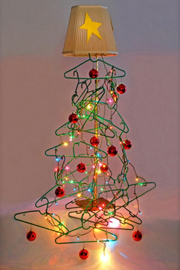 alternative christmas tree clothes handers star top festive lights decoration