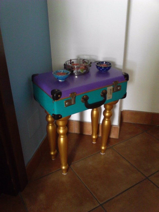 reuse old suitcases diy handmade purple painted table amazing decor idea