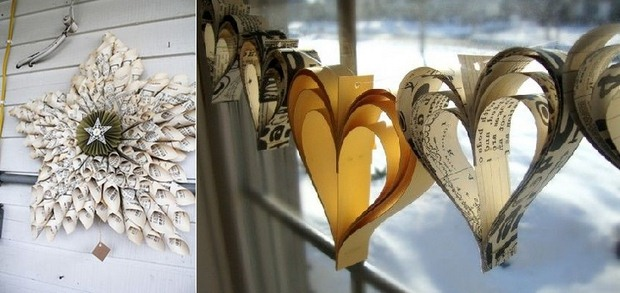 book page christmas ornament diy heart shaped paper garland decorating