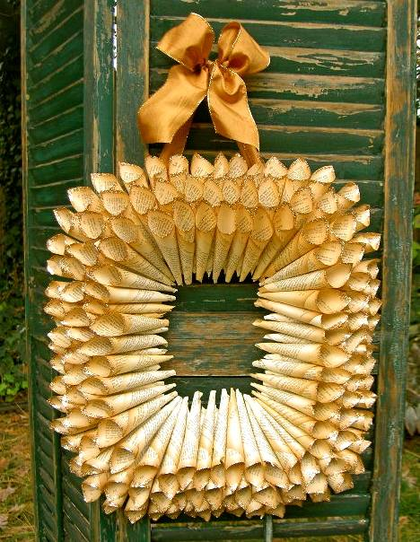book page christmas ornaments diy rolled paper wreath golden ribbon hanging wooden green door