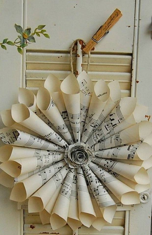 book page christmas ornament old rolled paper music notes wreath wall hanging decor ideas