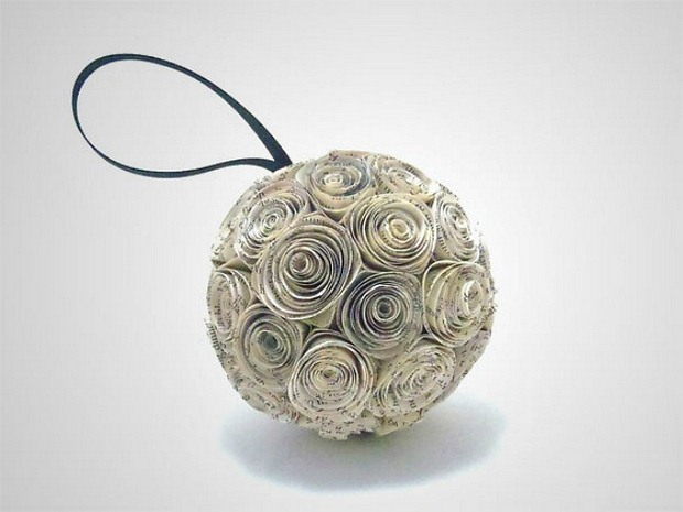 book page rosette pomander christmas ornaments paper ball repurposed decoration idea