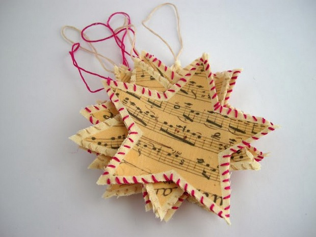 book page christmas ornament paper music note stars red white rope reused ideas