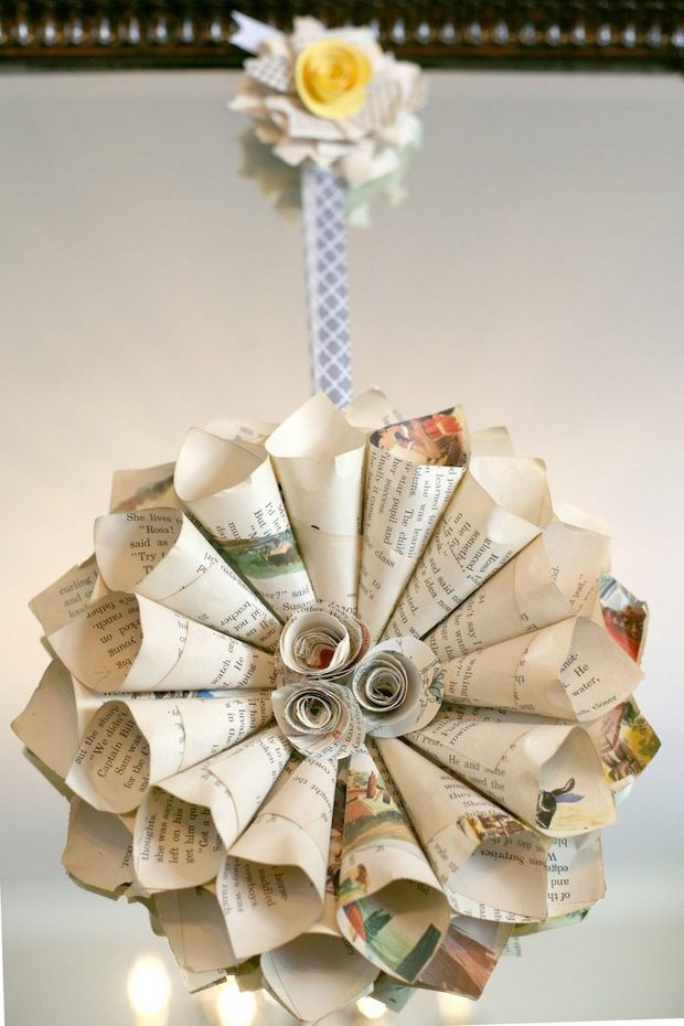 book page rosette christmas ornaments recycled rolled paper tree ball craft creative ideas