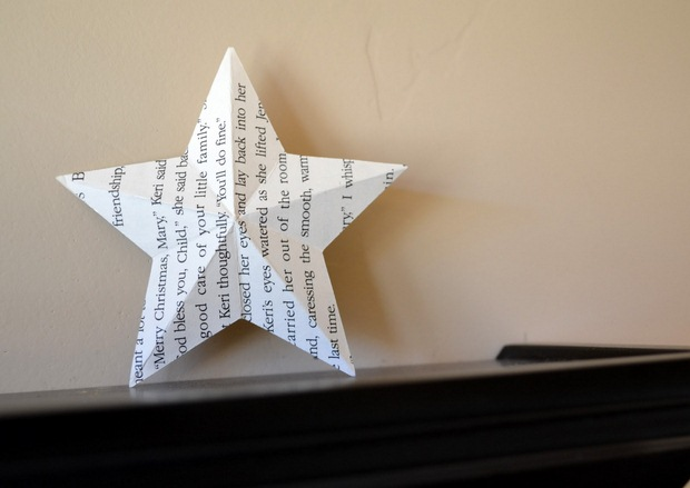 book page christmas ornament recycled white paper star decorating ideas
