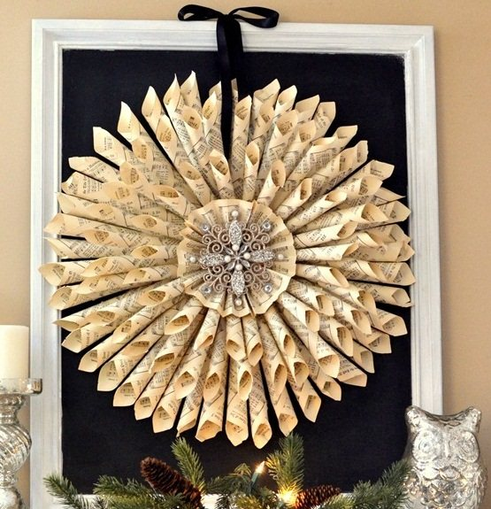 book page christmas ornaments rolled paper wreath diy home decoration