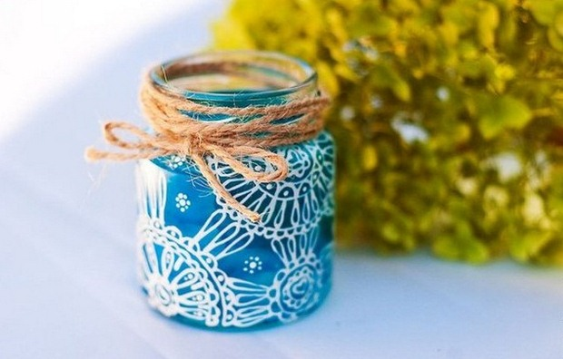 blue glass jar christmas crafts ribbon decor upcycled ideas