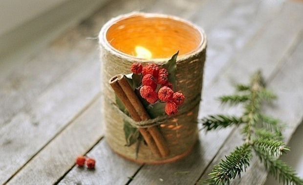glass jar christmas crafts candle cranberries cinnamon rope decoration