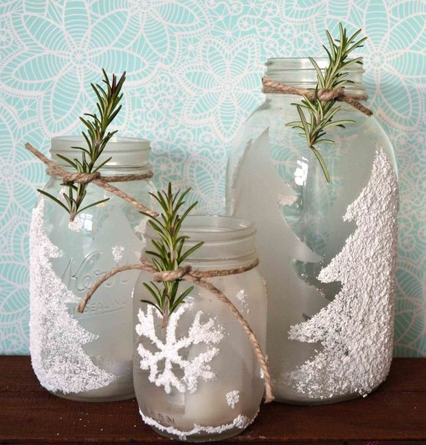 glass jar christmas crafts decorating rope rosemary decorative artificial snow diy recycled ideas