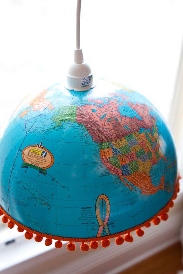 repurposed upcycled world globe creative diy pendant lights decoration