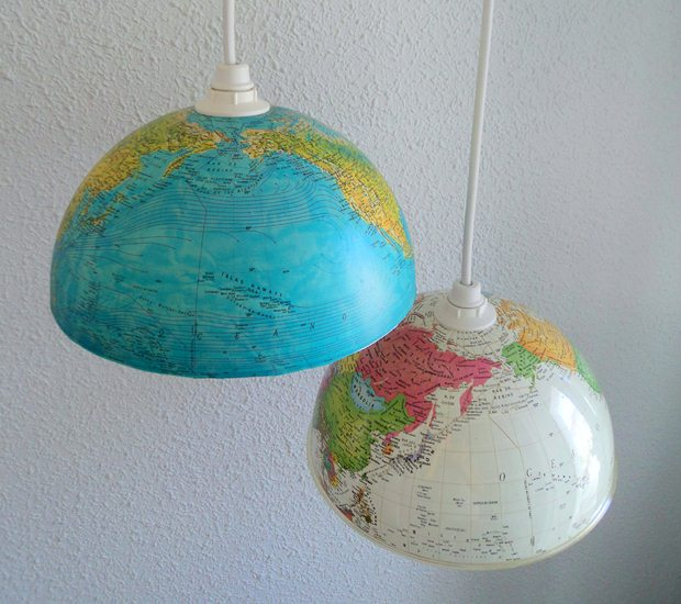 upcycled old world globe diy indoor hanging lights decoration