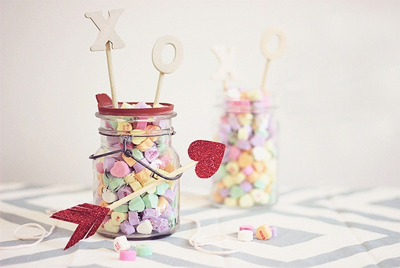 valentine's day crafts gift idea glass jar filled candy love arrow