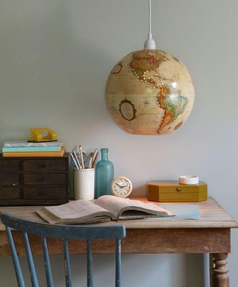 vintage upcycled world globe pendant lights desk chair indoor decoration