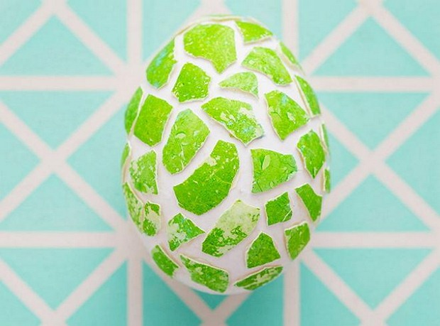 easter egg decorating ideas mosaic crafts green eggshell project
