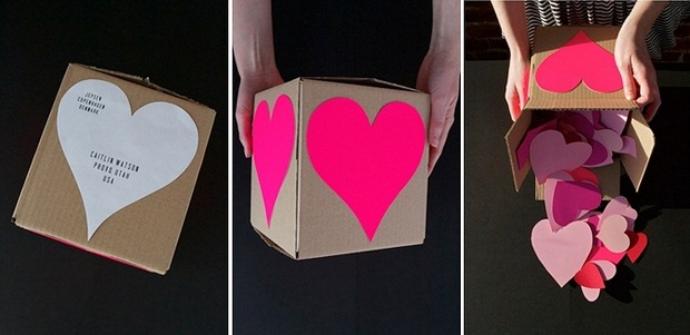 valentine day gift for him cardboard present box paper hearts recycled idea