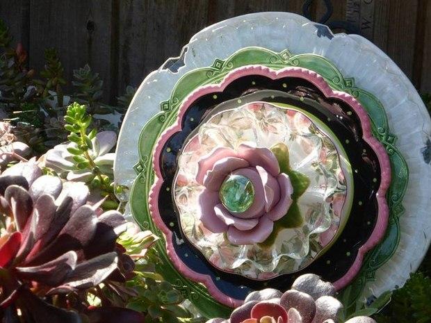 garden glass flower made old vintage ceramic dishes yard decor ideas