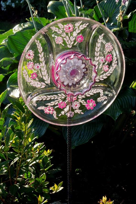 garden glass flower reused clear glass dishes diy handmade ideas