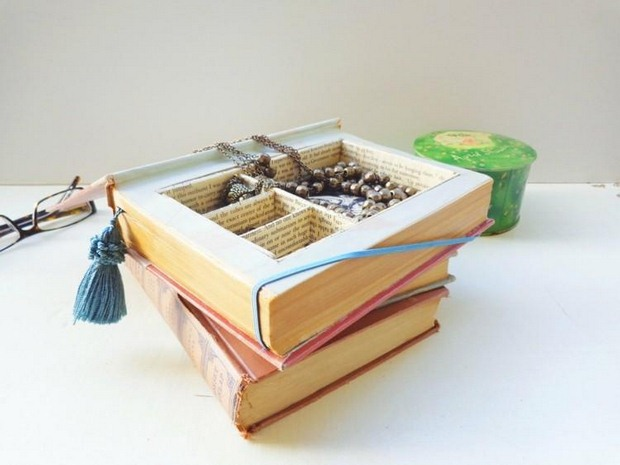 reuse old books diy jewelry box repurposed vintage design craft decor idea