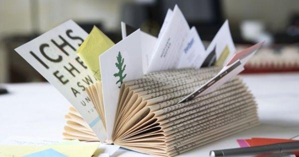 reuse old books repurposed business card memo holder creative idea