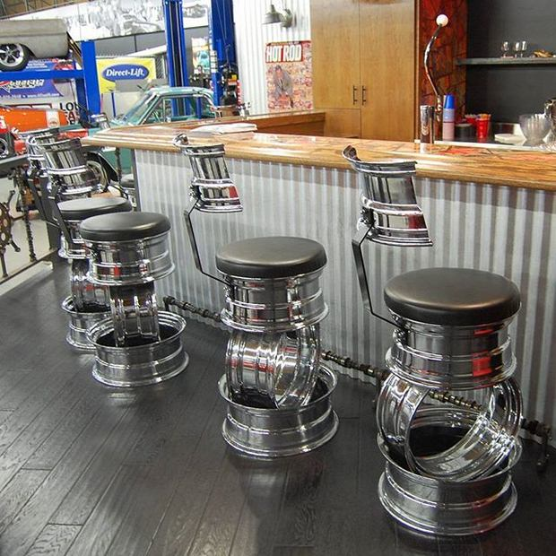 reused car rims metal upcycled wheels barstools smart art idea