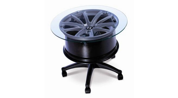reuse car rims painted black finish glass top tire rim coffee table creative idea