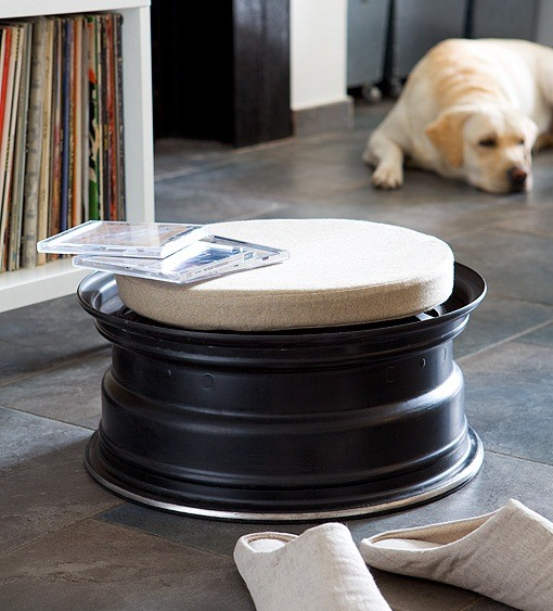reused car rims recycled indoor tire rim stool black painted decor idea