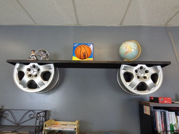 reuse car rims repurposed furniture alloy wheels wooden shelf decor idea
