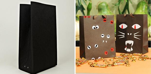 halloween goody bag idea black brown paper googly eyes easy diy idea
