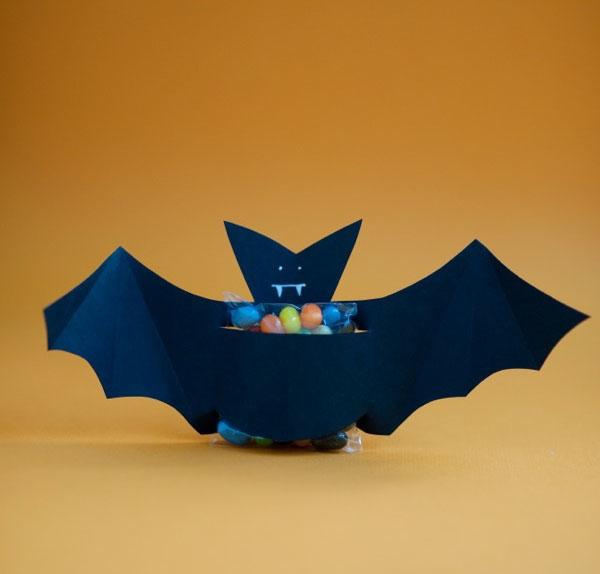 halloween goody bag idea black diy paper bat candy holder decoration