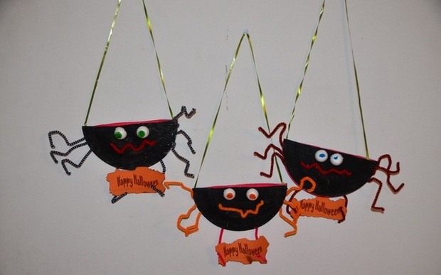 halloween goody bag idea black spooky spiders hanging home decoration