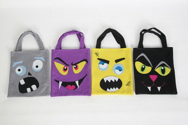 halloween goody bag ideas fabric colorful diy spooky bags