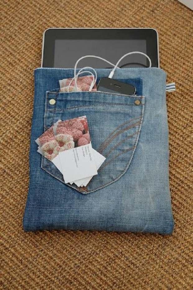 repurpose old jeans handmade ipad denim case cheap ideas