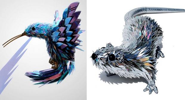 cd craft mouse bird models creative broken discs recycle art