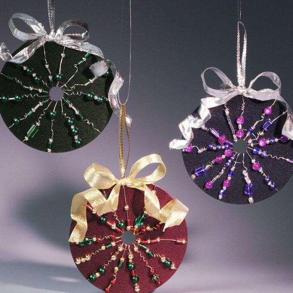 reuse cd craft beaded ornaments hanging diy shiny ribbon