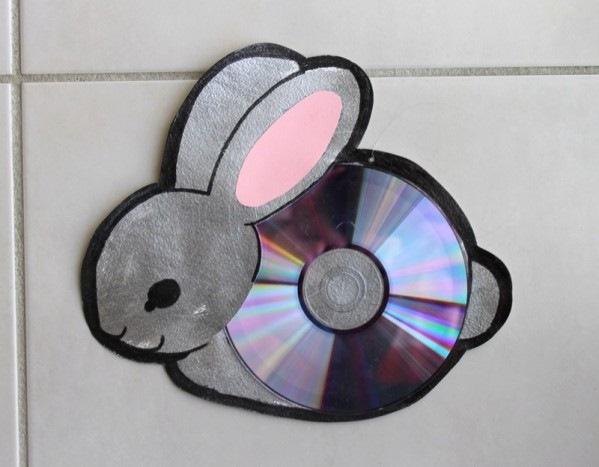 cd craft beautiful diy bunny wall hanging reuse old discs