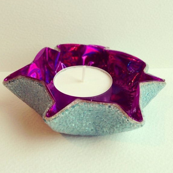 cd craft candle holder curved purple disc diy table decoration