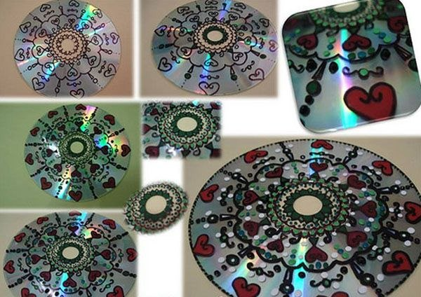 cd craft draw romantic red hearts diy decoration idea