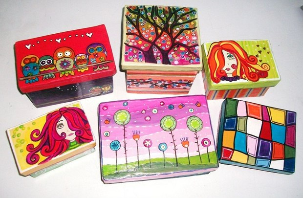 reuse shoeboxes colorful painted boxes kids entertaining diy crafts creative ideas