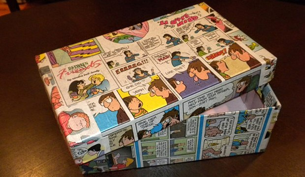 reuse shoeboxes decorated comic cover paper creative kids entertaining idea
