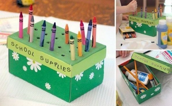 reuse shoebox kids school supplies organizer colored crayons upcycled craft idea