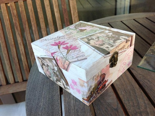 reuse shoebox locked chest storage decor flowers art creative diy idea