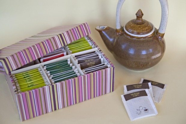 reuse shoebox tea organizer pink zen teapot creative diy craft idea