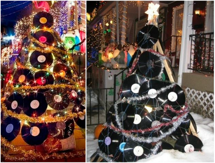 recycled vinyl records christmas tree holiday garden decoration ideas
