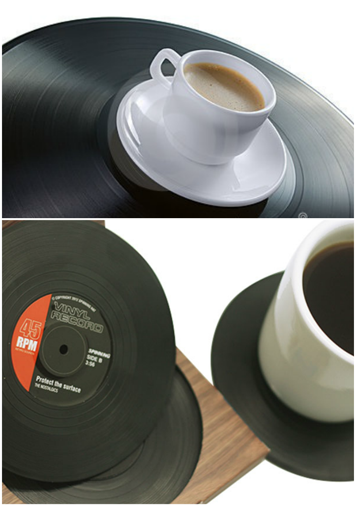repurposed vinyl records cup coaster coffee drink table