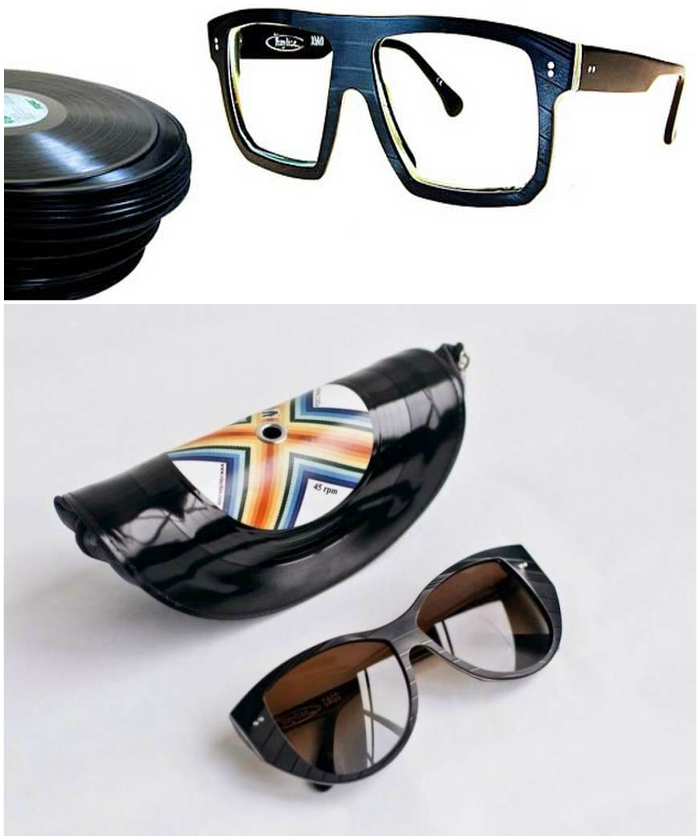 recycling vinyl records sunglasses frame case unconventional stylish diy idea