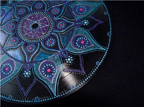 recycled vinyl records mandala blue creative art diy colorful idea