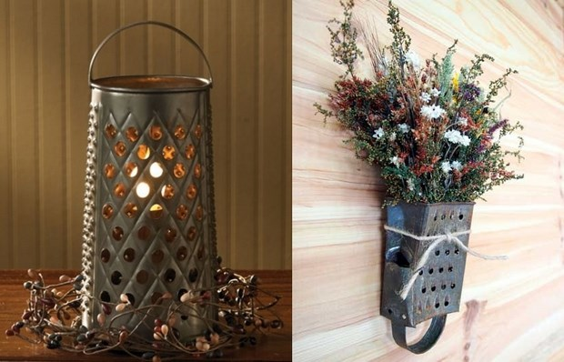 upcycle cheese grater hanging flower pot centerpiece vintage lights idea