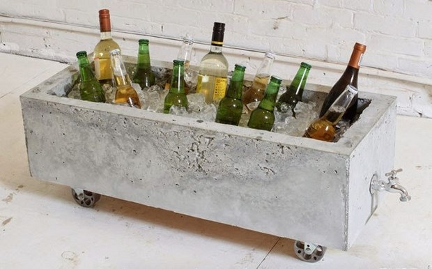 concrete upcycling projects beer wine cooler party cool idea